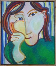 portrait of a girl listening at someone talking to her by phone. $425,00, via Etsy.