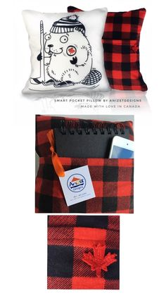Beaver Pocket Pillow - Special Hockey Edition with Buffalo Plaid Back Buffalo Plaid Fabric, Red And Black Flannel, Plaid Throw Pillows, Large Cushions, Hiding Spots, Sick Kids, Buffalo Check, Cushion Covers, Black Cotton
