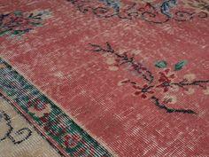 Enfes - Pink Turkish Vintage Area Rug (6x10)