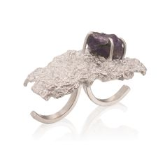 Silver Big Cloud Ring w/ Iolite by Maya Sebbah | Jewelry Artist. Two finger texture silver ring with rough crystal.