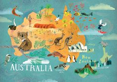 Australia and Oceania / Continents / Postcards / Postallove - postcards made with love Australia Map, Visit Australia, Western Australia, Australia Wallpaper, Brisbane Australia, Travel Maps, Travel Posters, Cairns, Asia Continent