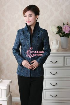 >> Click to Buy << Free Shipping Blue Chinese Tradition Ladies' Tang Suit Silk Satin Jacket V-neck Coat Flower Outwear S M L XL XXL XXXL T03 #Affiliate