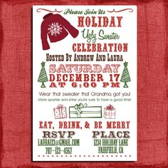 Holiday/Christmas Ugly Sweater Party  Invitation- 4x6 Invitation-Print at home. $13.00, via Etsy.