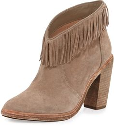 Trending On ShopStyle - Joie Loren Fringe Suede Bootie. Fringe trim underscores the rustic '70s appeal of a rich suede bootie grounded with a sturdy stacked heel.