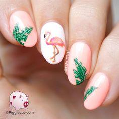 PiggieLuv: Hot flamin' flamingo nail art