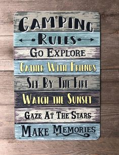 Camping Rules Sign Camping Sign Camping Decor Hiking | Etsy