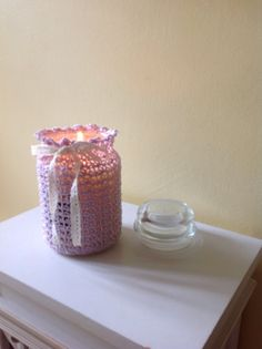 Large Yankee Candle Crocheted Lace cover by PinkPicot on Etsy. $11.25
