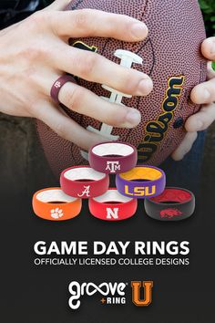 Over 60 colleges will be represented in this amazing line of silicone rings for alumni and fans. Proudly support your college team by wearing your new Groove U GAMEDAY ring. Feng Shui, Alabama Football, Lsu, Clemson Tigers, Style Vintage, Vintage Home Decor, Laura Lee, Gifts For Him, Great Gifts