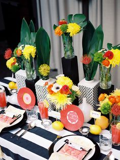 #stripes, #tablecloth  Photography: Chelsea Scanlan Photography - chelseascanlan.com  Read More: http://www.stylemepretty.com/2013/08/20/citrus-inspired-photo-shoot-from-chelsea-scanlan-photography/