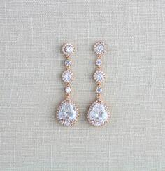 Long Bridal earrings Rose gold earrings Bridal jewelery