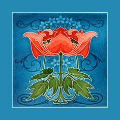 """04 Art Nouveau tile by Rhodes (1905-8). Courtesy Robert Smith, from his book """"Art Nouveau Tiles with Style"""". Buy as an e-card with a personalised greeting!"""