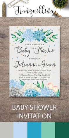 Succulent Baby Shower Invitation Printable, Floral Baby Shower Invitation, Hydrangea Baby Shower Invite, Blue Mint Boho Baby Shower Invitations, Bohemian Baby Shower Ideas. Blue Hydrangea Invitation, Gray Succulent Invitations. For more baby invitations follow the link: tranquillina.etsy.com