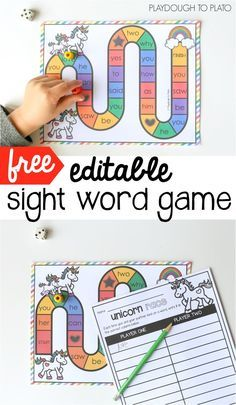 Free editable sight word game! Awesome literacy center, word work activity or sight word game for kindergarten or first grade.