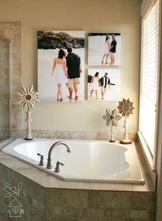 Above the tub idea Close Close Close Close Gawlik this would be cute for your new house! Master Bedroom Bathroom, Home Bedroom, Condo Decorating, Decorating Ideas, Close Close, Bathroom Design Inspiration, Enlarge Photos, Barbie Dream House, Canvas Ideas