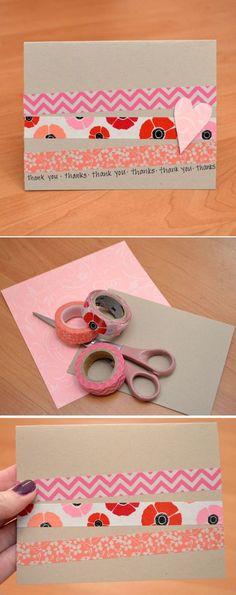 Cheap DIY Washi Tape Card Ideas by DIY Ready at  http://diyready.com/100-creative-ways-to-use-washi-tape/: