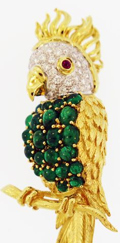 18KT Yellow Gold Emerald, Ruby and Diamond Parrot Brooch (BO 530)
