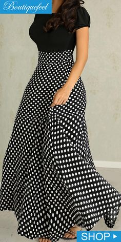 Short Sleeve Polka Dots Print Patchwork Maxi Dress dresses to wear to a wedding dresses short dress outfit dress dress dresses modest dresses Modest Dresses, Casual Dresses, Short Sleeve Dresses, Maxi Dresses, Formal Dresses, Maxi Skirts, Casual Outfits, Elegant Dresses, Evening Dresses