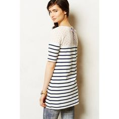 Blue Jola Tunic Blue and white stripped tunic with lace back and paisley tie in good condition Anthropologie Tops Tunics