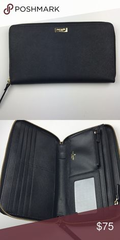 Kate Spade Oversized Wallet New without tags. Never used or carrier. Oversized wallet with 8 card slots, a zippered coin section, a clear slot for photo ID, a full length zipped section, and 3 full length non zipped sections. kate spade Bags Wallets