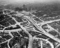 Aerial view of downtown Los Angeles from the Harbor Freeway and Hollywood Freeway interchange, 1954 Vintage California, California Dreamin', Usc Library, La Confidential, San Luis Obispo County, Cityscape Art, On The Road Again, Dream City, Downtown Los Angeles