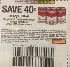 Campbell's Condensed Chicken Noodle, Tomato, or Mushroom Soups ~ 12/31/2014