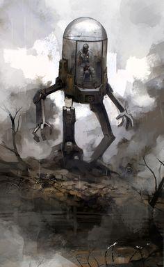 Guillaume Menuel is a concept artist at Ubisoft Montreal. Guillaume Menuel's art is fucking amazing. Lapin Art, Science Fiction Kunst, Arte Robot, Arte Tribal, Arte Cyberpunk, Ashley Wood, Bioshock, Retro Futurism, Sci Fi Fantasy