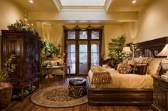 gorgeous 20 Tuscan Bedroom Design Ideas to Transport You to Italy Tuscan Bedroom, Home Decor Bedroom, Master Bedroom, Bedroom Ideas, Warm Bedroom, Bedroom Ceiling, Bedroom Designs, Dream Bedroom, Master Suite