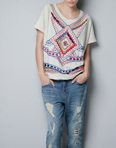 ZARA TRF: COLOURED EMBROIDERED TOP
