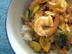 spicy masala shrimp with zucchini and coconut rice