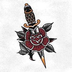 Resultado de imagem para knife with rose tattoo