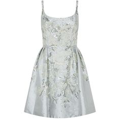 Marchesa Embellished Full Skirt Dress ($7,975) ❤ liked on Polyvore featuring dresses, marchesa, scoop neck dress, marchesa dresses, white dress, shimmer dress and white full skirt
