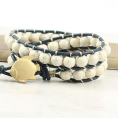 Navy Blue Wrap Bracelet Off White Gold Fish Nautical Ivory Summer Bohemian Style Double Wrap Leather Beach Jewelry