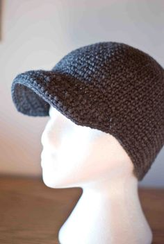 Winter Beanie Cap with Brim for Men Boys Children - Deep Hat for snowboarding and skiing. $35,00, via Etsy.