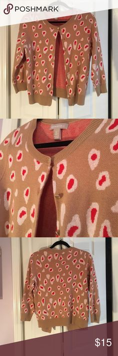 Pink and Tan Leopard Cardigan This 3/4 sleeve length cardigan is perfect to throw over any outfit for a pop of color. Deep pink and white spots lay over a tan background. Great condition! Banana Republic Sweaters Cardigans