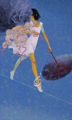 Fuco Ueda -「 夢ばかり見ている 」I watch only a dream. Acrylic on Paper, 417×250 mm (2010)