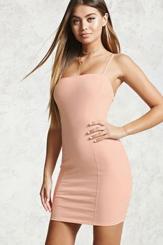 Style Deals - A knit mini dress featuring cami straps, a bodycon fit, square neckline, and seam-stitched panels. Plus Dresses, Tight Dresses, Sexy Dresses, Girls Dresses, Short Sleeve Dresses, Sexy Outfits, Fashion Outfits, Women's Fashion, Fashion Women