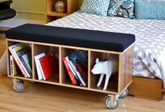 Offi Bench Box with Casters - Walnut Wood w/ Grey Wool Upholstery
