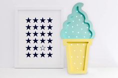 Ice cream Night Light / Marquee light / Wooden Nightlight / Night light / HandMade / Wall decor / Battery operated (11/15/B)