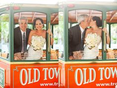 Key West Wedding trolley. They picked up our guests and took them to the ceremony then back to the restaurant. It was perfect. I would recommend them. It made it easy since parking is an issue in KW.
