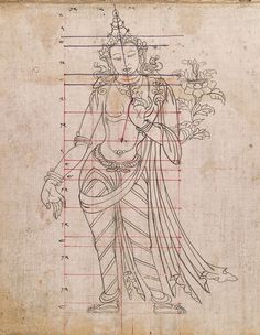 Tibetan pattern book of proportions Buddha Kunst, Buddha Art, Thangka Painting, Buddha Painting, Tibet Art, 17th Century Art, Indian Art Paintings, Thai Art, Krishna Art