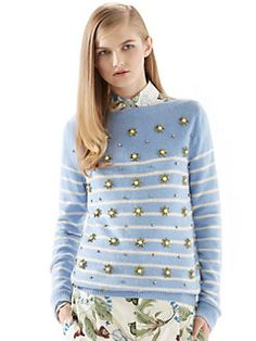 Gucci - Crystal Embroidery Striped Cashmere Sweater-something about pearls...