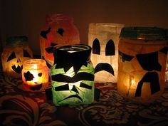 Spooky votive holders easy enough for preschoolers to make.