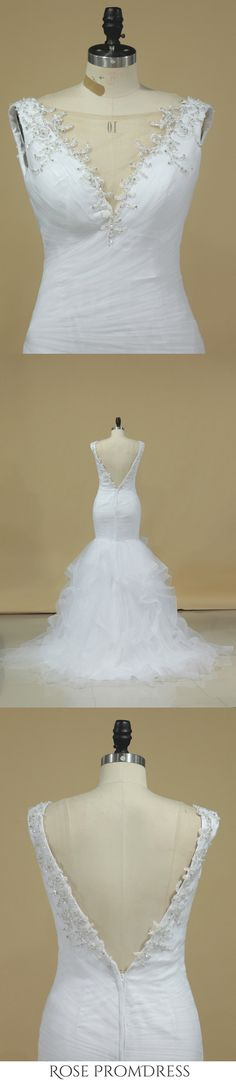 2019 V Neck Mermaid Wedding Dresses Tulle With Applique And Ruffles Chapel Train, This dress could be custom made, there are no extra cost to do custom size and color Chic Wedding Dresses, Make Your Own Dress, Elastic Satin, Chapel Train, Tulle Dress, Special Occasion Dresses, Mermaid Wedding, Ruffles, Applique