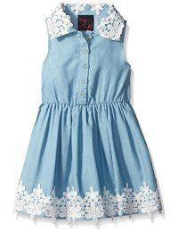 Vestido del cordón del ganchillo ligero lavado de mezclilla Regla de las muchachas de las muchachas