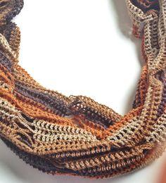 Brown tones summer cowl scarf por GabyCrochetCrafts en Etsy