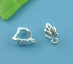 10 Silver Plated LEAF Pinch Bails with copper base . for jewelry making . 9x7mm ( Free Combined Shipping )