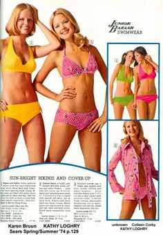 Well, it's not quite summer, but heck I COULDN'T WAIT. Let's do us some Sizzlin' Sears Swimsuits - catalog style! (Do I hear any compla. Seventies Fashion, 60s And 70s Fashion, Junior Fashion, Vintage Fashion, Vintage Style, Vintage Bikini, Vintage Swimsuits, Retro Swimwear, 70s Outfits