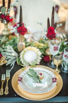 Vivid Botanical Place Setting in Red, Green, and Gold   Samantha Kirk Photography   Red Velvet - Luxe Winter Styling in Leather and Lace