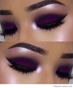 Purple matte makeup with black detail