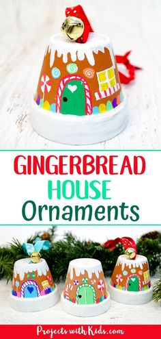 Turn adorable clay pots into the sweetest gingerbread house ornaments! An adorab… Turn adorable clay pots into the sweetest gingerbread house ornaments! An adorable Christmas craft kids will love making to hang on the tree or give as a special gift. Kids Crafts, Holiday Crafts For Kids, Craft Kids, Christmas Activities, Kids Diy, Decor Crafts, Party Crafts, Diy Ornaments For Kids, Kids Winter Crafts